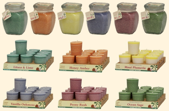 Photo of Perfume Blends Square Top Jars and Votive Candles