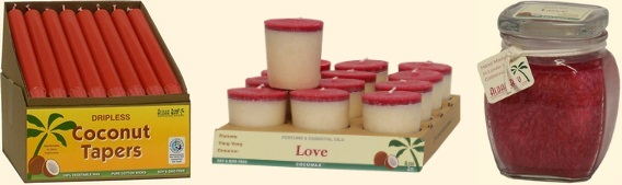 Photo of Red Colored Tapers, Votive, and Square Top Jar Candles